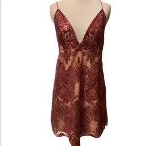 Free People mauve sequin dress on nude under layer